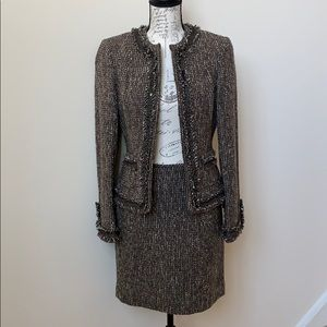 Tahari Brown tweed Skirt Suit Size 4